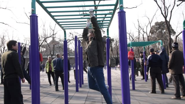 Residents of Beijing perform traditional Chinese exercises in Tiantan Park in Beijing shot on January 28th 2015