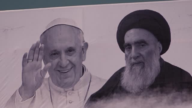 residents of the iraqi holy city of najaf praise the pope's historic visit and his hugely symbolic meeting with grand ayatollah ali sistani, saying... - najaf stock videos & royalty-free footage