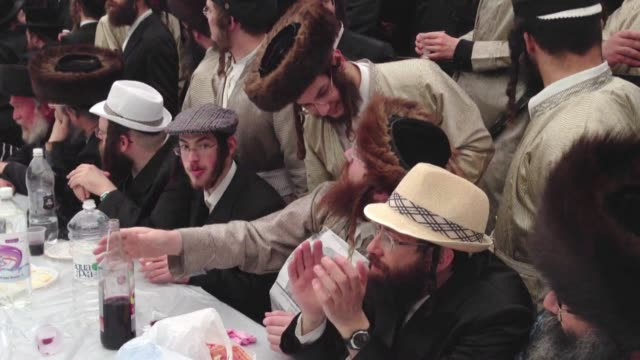 residents of the ultra orthodox jewish neighbourhood of mea shearim celebrate purim a two day holiday in which revellers drink large amounts of... - biblical event stock videos & royalty-free footage