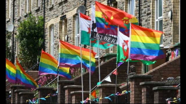 residents of wattsville fly various rainbow and multicoloured flags in support of nhs carers and key workers on may 24 2020 in wattsville united... - multi coloured stock videos & royalty-free footage