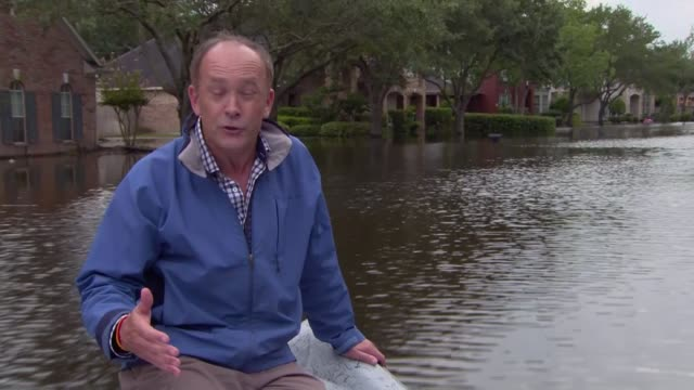 Residents still suffering from effects of Hurricane Harvey a week on from the storm Reporter to camera as on boat along flooded street SOT People...