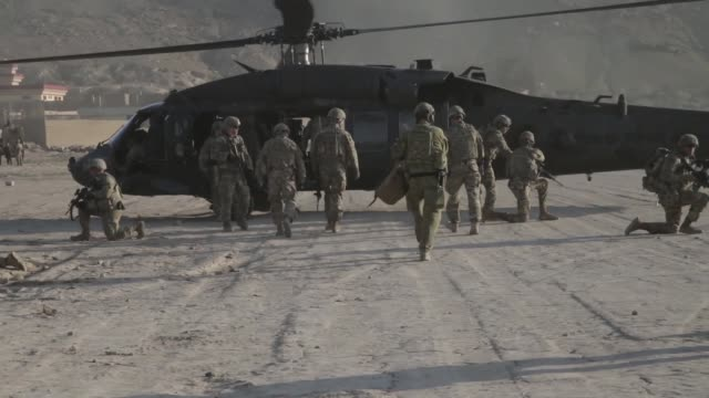 resolute support mission leadership along with kabul security force soldiers and the task force brawler aviation team conduct an aerial reaction... - afghanistan stock videos & royalty-free footage