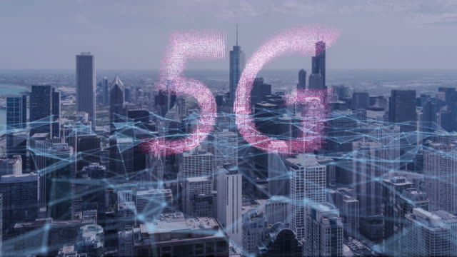 vídeos de stock e filmes b-roll de 4k resolution 5g technology concept concept,innovation wireless technology digital marketing with chicago city - acessibilidade