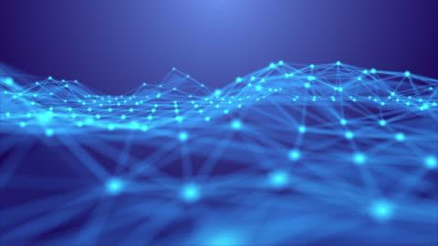 vídeos y material grabado en eventos de stock de resolución 4k diseño futurista de fondo abstracto, dna geometric forma datos conectados línea y puntos, fondo digital futurista para la ciencia de negocios y la tecnología, movimiento de movimiento de onda de fondo azul - abstracto