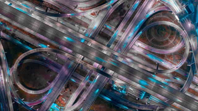 4k resolution aerial view time lapse or hyper lapse road traffic intersection.transportation concept.connection and networking technology - hyperlapse video stock e b–roll