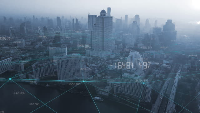 4k resolution big data connection.communication network.smart city.internet of thing.bangkok city thailand - multi layered effect stock videos & royalty-free footage
