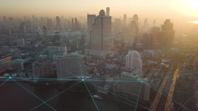 4k resolution big data connection.communication network.smart city.internet of thing.bangkok city thailand - innovazione video stock e b–roll