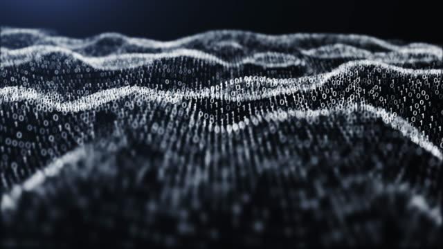 vídeos de stock, filmes e b-roll de padrão de código binário de resolução 4k. fundo abstrato da onda digital da paisagem das partículas futuristas para o negócio, ciência e tecnologia - código binário