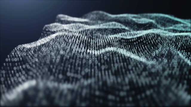 4k resolution binary code pattern.futuristic particles digital landscape wave abstract background for business,science and technology - molecular structure stock videos & royalty-free footage