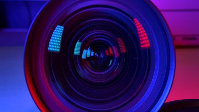 4k resolution camera and lens zoom, close-up to the lens. emergency light. - video stock videos & royalty-free footage