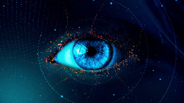 4k resolution - digital eye with, zoom out - eyeball stock videos & royalty-free footage