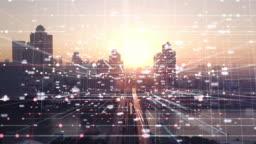 4K resolution Multiple Exposure exposure futuristic design Big data data on city.network communication connection concept.Smart city