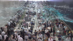 4K resolution networking Connection and communication Concept with Crowd commuters of pedestrian commuters on train station at Hong Kong station.Internet of Thing and Big data concept