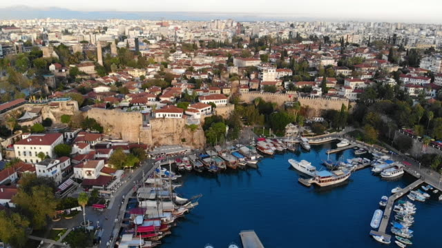 4k resolution of antalya harbour drone video - ozgurdonmaz stock videos and b-roll footage