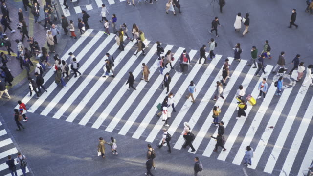 4k 渋谷シマウマ交差点を横断する混雑した人の解決,東京の観光名所ランドマーク,日本観光,アジアの都市生活コンセプト - 横断歩道点の映像素材/bロール