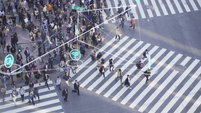 4k resolution people and technology concept,crowded people walking and global communication icon with network connections line,technology-futuristic concept - big data video stock e b–roll