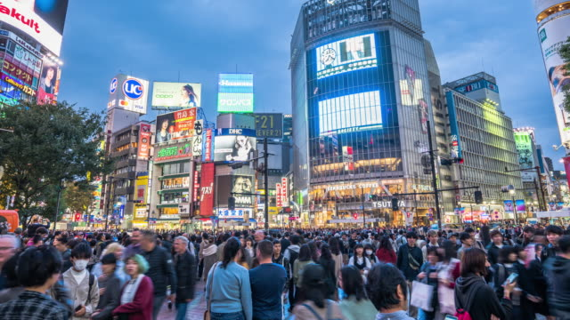 4k resolution time lapse crowded people of shibuya crossing tokyo city, japan famous place,tokyo tourist attraction landmark, asian city lifestyle - shibuya ward stock videos & royalty-free footage