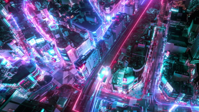 risoluzione 4k time lapse della vista aerea della città di tokyo con linea di collegamenti di rete. internet of things e concetto di città intelligente, concetto tecnologico-futuristico - futuristico video stock e b–roll