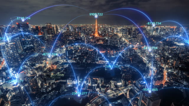 4k resolution time lapse of tokyo city skyline with network connections line.internet of things and smart city concept,technology-futuristic concept - net sports equipment stock videos & royalty-free footage