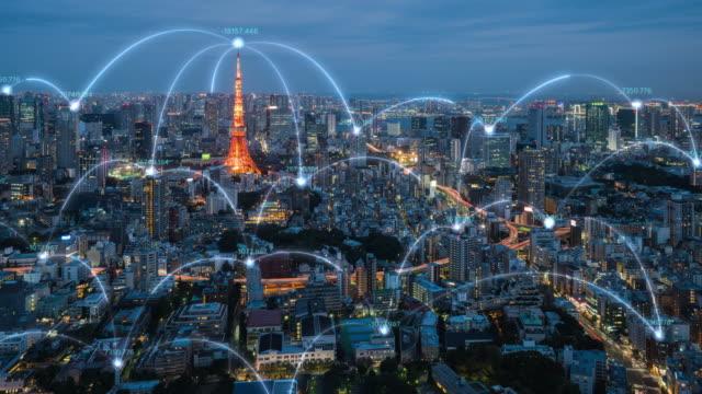 4k解像度 ネットワーク接続線を持つ東京市内スカイラインのタイムラプス。モノのインターネットとスマートシティのコンセプト,テクノロジー未来的概念 - digitally generated image点の映像素材/bロール