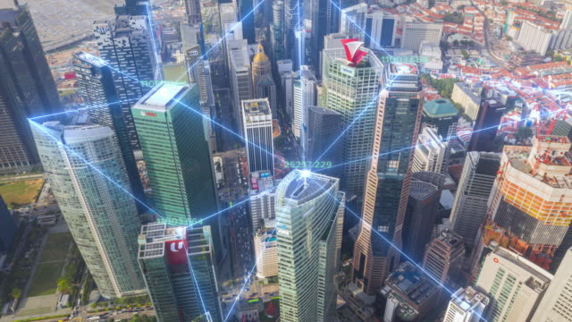 vídeos de stock e filmes b-roll de 4k resolution time lapse of tokyo city skyline with network connections line.internet of things and smart city concept,technology-futuristic concept - network