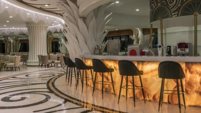resort hotel bar interior - luxury hotel stock videos & royalty-free footage