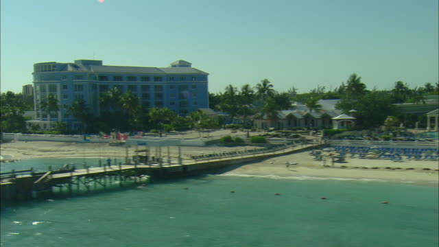 AERIAL Resort hotels and beaches on north shore of Nassau, Bahamas