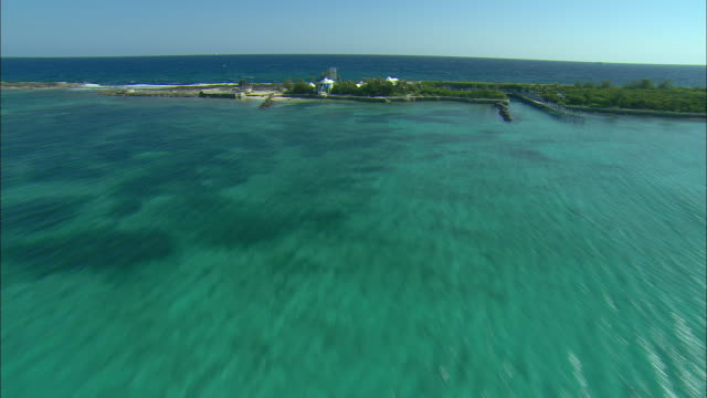 AERIAL Resort island and turquoise waters on north shore of Nassau, Bahamas
