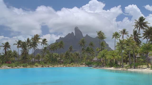 vídeos y material grabado en eventos de stock de ws resort island with palm trees and lagoon / bora bora, tahiti  - territorios franceses de ultramar
