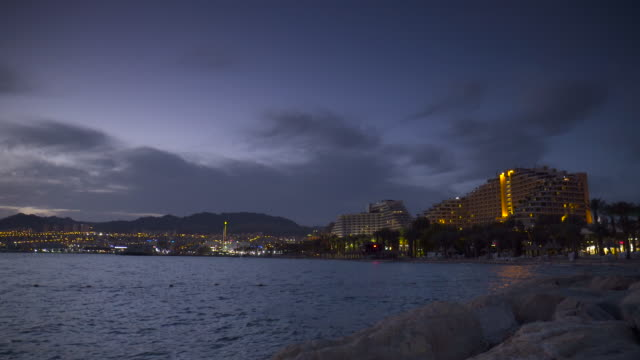 EILAT: Resorts and Coast line after sunset