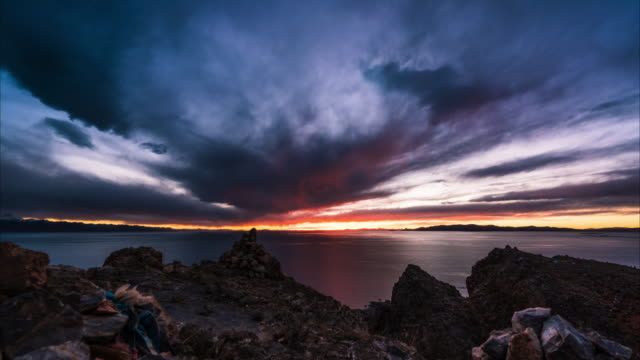 T/L WS resplendent sunset view of Namtso lake