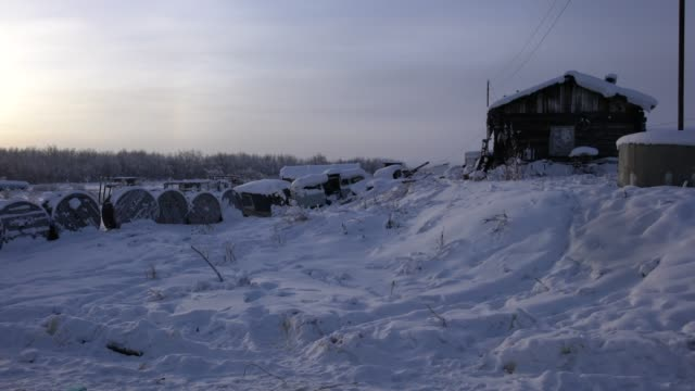 rest area with parking places used by russian truck drivers on the old kolyma highway, russian far east - wilderness area stock videos & royalty-free footage