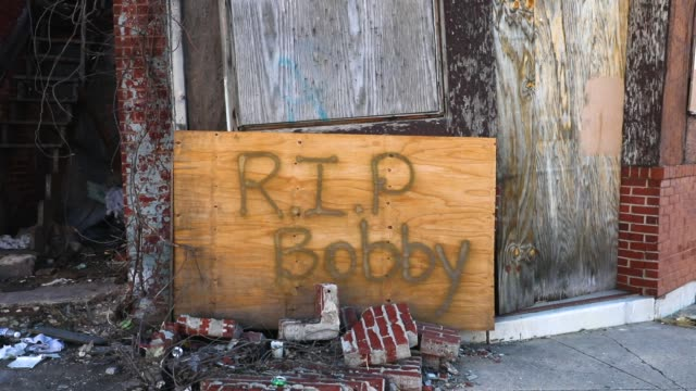 Rest in Peace is written on an abandoned building near where a man was recently murdered on February 3 2018 in Baltimore Maryland Baltimore one of...