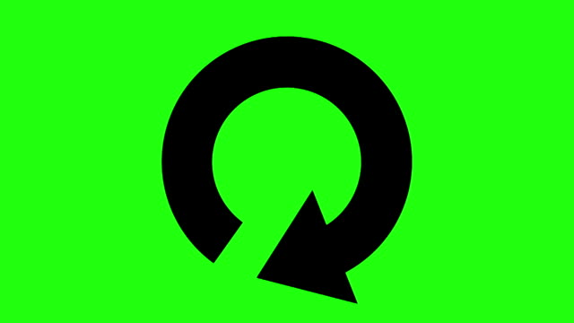restart or reload icon on green chroma key - repetition stock videos & royalty-free footage