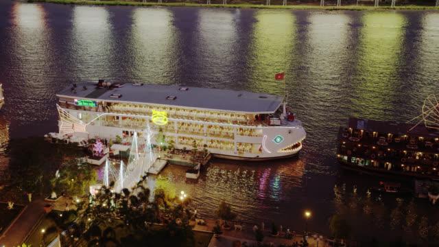 Restaurand Boat on Saigon River Early Evening