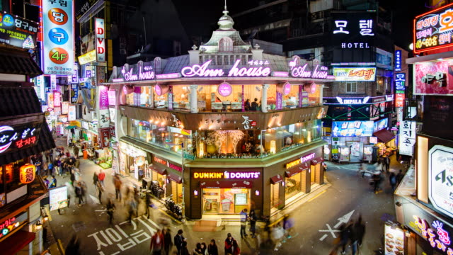restaurant and entertainment district of myeong-dong, seoul, south korea, asia - korea stock videos & royalty-free footage