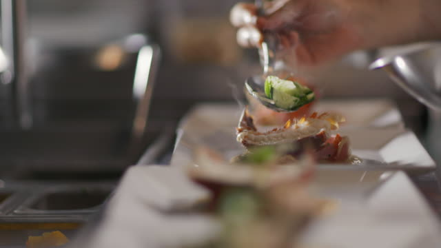 restaurant chef garnishes gourmet lobster dish in restaurant kitchen - feinschmecker essen stock-videos und b-roll-filmmaterial
