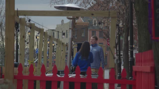 restaurant employees set out chairs for outdoor dining during the coronavirus pandemic on january 22, 2020 in baltimore, maryland. the city lifted... - bright colour stock videos & royalty-free footage