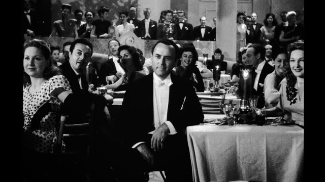 1945, restaurant, formally dressed people sitting at tables clapping - formal stock videos and b-roll footage