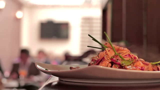 restaurant gourmet noodles plate - italian culture stock videos & royalty-free footage