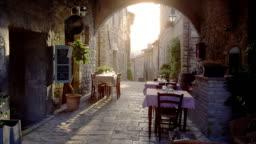 Restaurant in old italian town