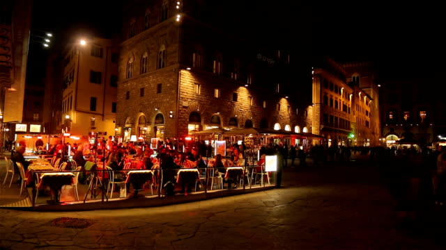 restaurant in the old town of florence at night,with unidentified people. - florence italy stock videos & royalty-free footage