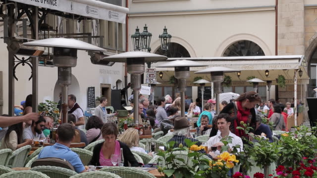 restaurant in the old town square, prague, czech republic, europe - czech culture stock videos & royalty-free footage