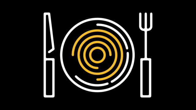 vídeos de stock e filmes b-roll de restaurant menu line icon animation with alpha - símbolo