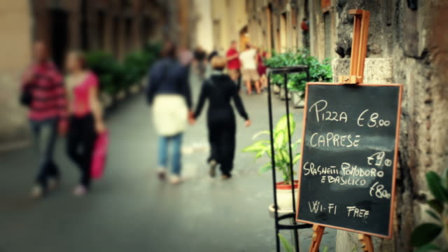 Restaurant Menu on the Street in Rome Video HD