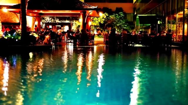 restaurant near pool - tourist resort stock videos & royalty-free footage