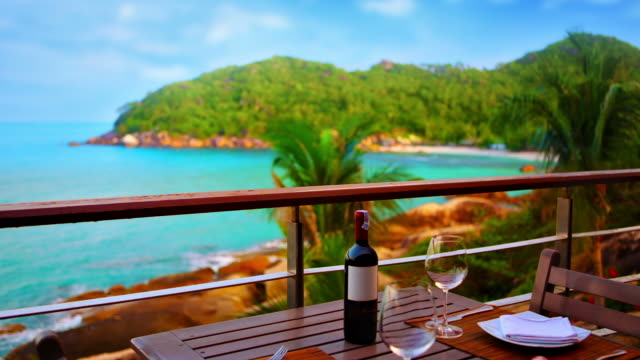 restaurant on the beach - wine stock videos & royalty-free footage