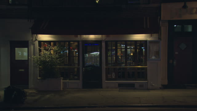 ts night restaurant with awning / new york, new york, usa - public building stock videos and b-roll footage