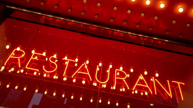 restaurant word with led and neon lights - capital letter stock videos & royalty-free footage