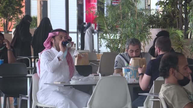 restaurants and coffee shops at shopping malls in the saudi city of riyadh reopen after months of closure due to the coronavirus pandemic - riyadh stock videos & royalty-free footage